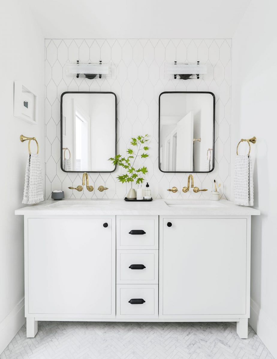Emily Henderson modern white bathroom ideas